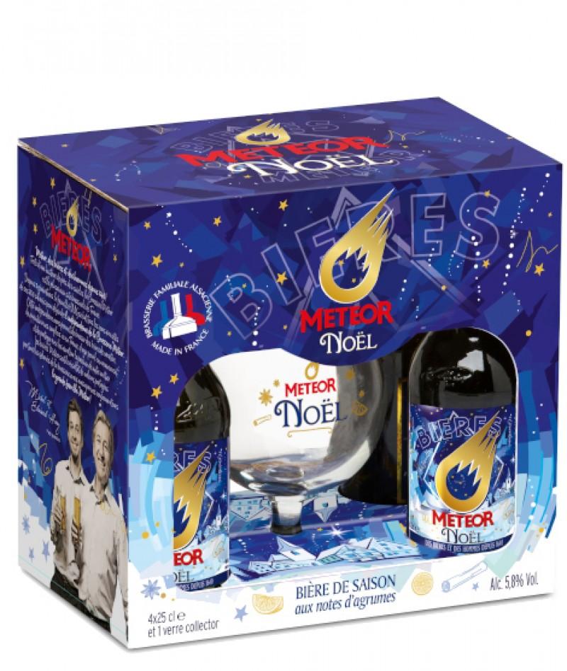 Coffret Meteor de Noël 4x25cl + 1 verre de dégustation