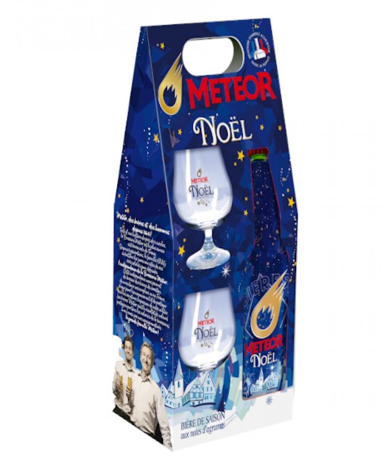 Coffret Meteor de Noël 65cl + 2 verres de dégustation